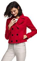 Lands' End Women's Long Sleeve Peacoat Jacket-Light Gray