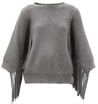 Stella McCartney Fringed Rib-knitted Cashmere-blend Sweater - Grey