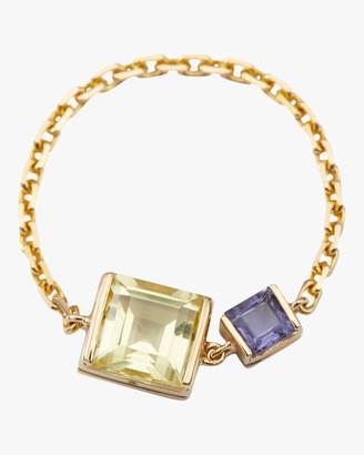 Yi Collection Lemon Quartz Tanzanite Chain Ring