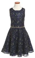 Nanette Lepore Girl's Crystal Embellished Mesh Dress