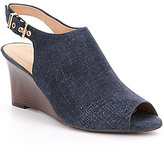 Nurture Cozet Peep Toe Denim Sling-Back Wedge