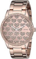 GUESS Women's U0536L1 Rose Gold-Tone Watch with Glitzy Heart Dial