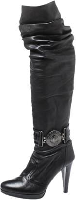 Loriblu Black Leather Pleat Detail Platform Knee Length Boots Size 37