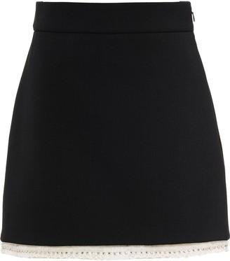 Miu Miu Crystal-Embellished Wool Skirt