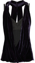 Draped leather and velvet top
