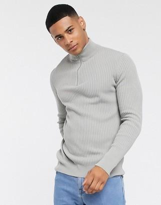 New Look muscle fit half zip neck jumper in grey