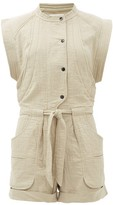 Etoile Isabel Marant Blithe Cotton-blend Cheesecloth Playsuit - Womens - Khaki