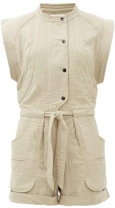 Etoile Isabel Marant Blithe Cotton-blend Cheesecloth Playsuit - Womens - Khaki