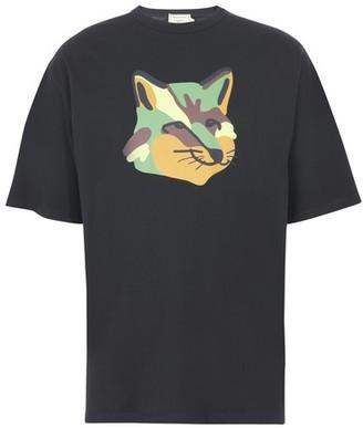 MAISON KITSUNÉ Oversized t-shirt neon fox print