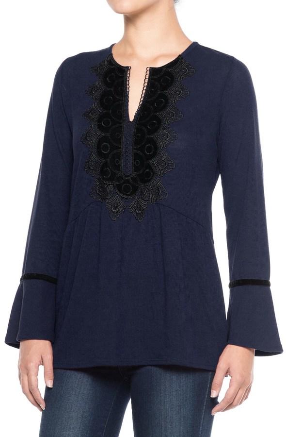 August Silk Velvet Applique Shirt - Long Sleeve (For Women)