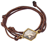 Diana Warner Gold Tan Leather and Golden Shadow Kathryn Stone Callahan Wrap Bracelet