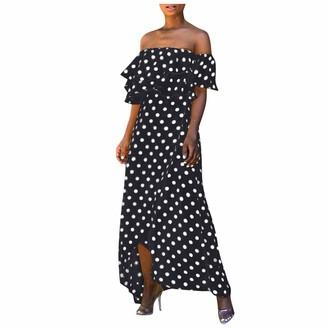 Toamen Women Off Shoulder Polka Dot Print Ruffle Sleeveless Summer Beach Party Prom Maxi Dress(Black 2XL)