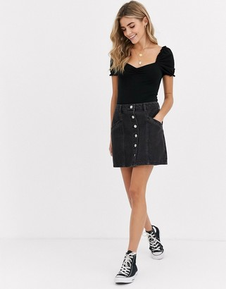 Miss Selfridge denim skirt with pockets in black