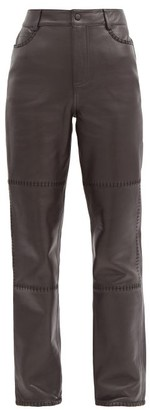 Ganni High-rise Whipstitched-leather Trousers - Dark Brown