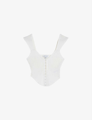 Topshop Hook-and-eye ribbed stretch-cotton top