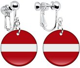 Body Candy Latvia Flag Clip on Earrings