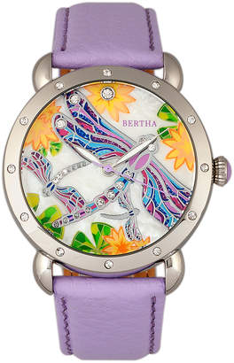 Mother of Pearl Bertha Women's Watches Silver/Lavender - Silvertone & Lavender Jennifer Mother-of-Pearl Leather-Strap Watch