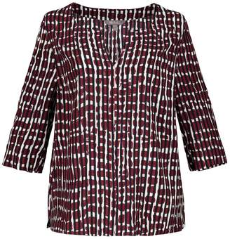 Ulla Popken Graphic Print Blouse with 3/4 Length Sleeves