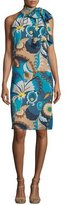 Trina Turk Sleeveless Floral Tie-Neck Shift Dress, Blue/Multicolor