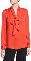 Milly Tie-Neck Stretch-Silk Crepe Blouse, Flame