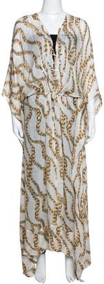 Roberto Cavalli Cream Jewel Printed Silk Maxi Kaftan Dress