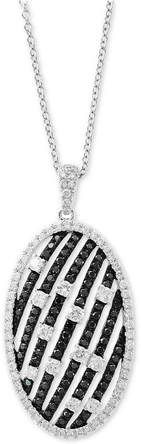 """Effy Diamond Oval 18"""" Pendant Necklace (1-1/4 ct. t.w.) in 14k White Gold"""