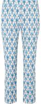 Prada Iris Printed Stretch-poplin Skinny Pants - Blue