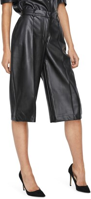Vero Moda Paulina Faux Leather Bermuda Shorts