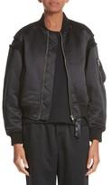 Noir Kei Ninomiya Women's Macrame Trim Satin Bomber Jacket