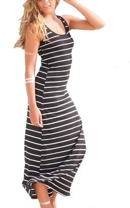 Naliha Women's Scoop Neck Racer Back Stripes Tunic Casual Summer Beach Maxi Dress Black XS