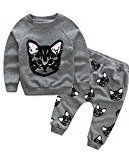 SMTSMT 2017 Baby Girl Cats Print Tracksuit +Pants Outfits (3T, Gray)