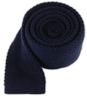 Tie Bar Knit Solid Wool Navy Tie