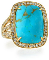 Rina Limor Fine Jewelry Natural Arizona Turquoise Ring with Diamonds, Size 7