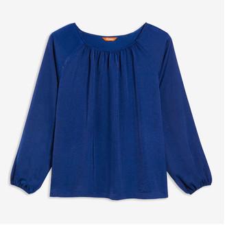 Joe Fresh Women+ Elastic Cuff Blouse, Blue (Size 1X)