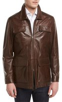 Isaia Vintage Lamb Leather Safari Jacket, Brown