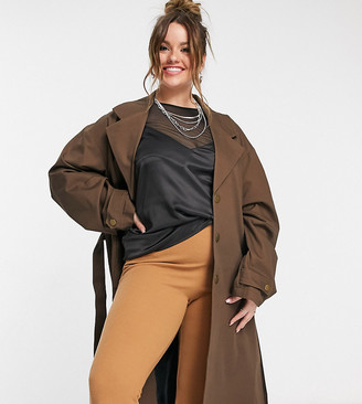 Collusion Plus exclusive color oversized belted trench in chocolate brown