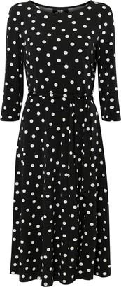 Wallis **TALL Black Polka Dot Print Midi Dress