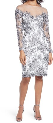 Tadashi Shoji Floral Corded Lace Long Sleeve Cocktail Dress