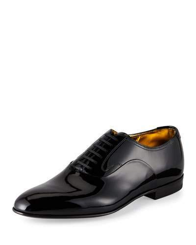 Bally Garret Patent Leather Lace-Up Oxford, Black