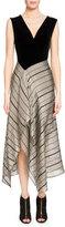Roland Mouret Dursley Striped-Skirt Midi Dress