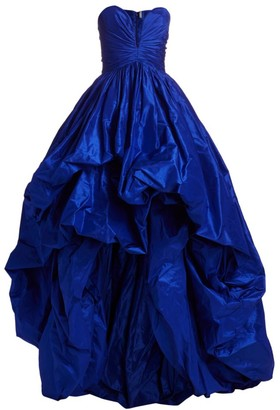 Oscar de la Renta Sweetheart Gathered High-Low Silk Gown