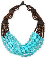 Viktoria Hayman Tiger Wood & Turquoise Beaded Necklace