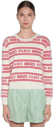 Kenzo Logo Intarsia Cotton Blend Knit Sweater