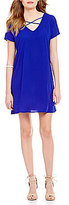 Sequin Hearts Lattice V-Neck Short-Sleeve Shift Dress
