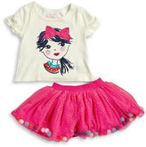 Flapdoodles Girls 2-6x Sequined Fashion Tee and Pompom Skirt Set