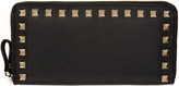 Valentino Black Rockstud Continental Zip Wallet