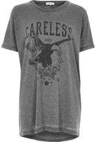 River Island Womens Grey 'Careless' print rock T-shirt