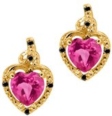 Gem Stone King 1.87 Ct Heart Shape Pink Mystic Topaz Black Diamond 18K Yellow Gold Earrings