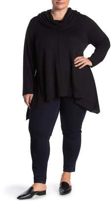 GRACE ELEMENTS Hi-Low Cowl Neck Jersey Pullover (Plus Size)
