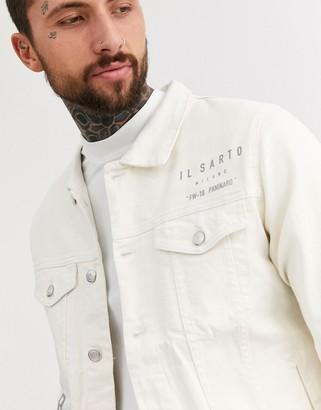 Il Sarto arm print denim jacket-Cream